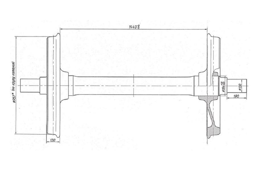 Колесная пара модели РУ1Ш-957-Г (без буксовых узлов) (чертеж 7020.10.010-0-01 СБ)