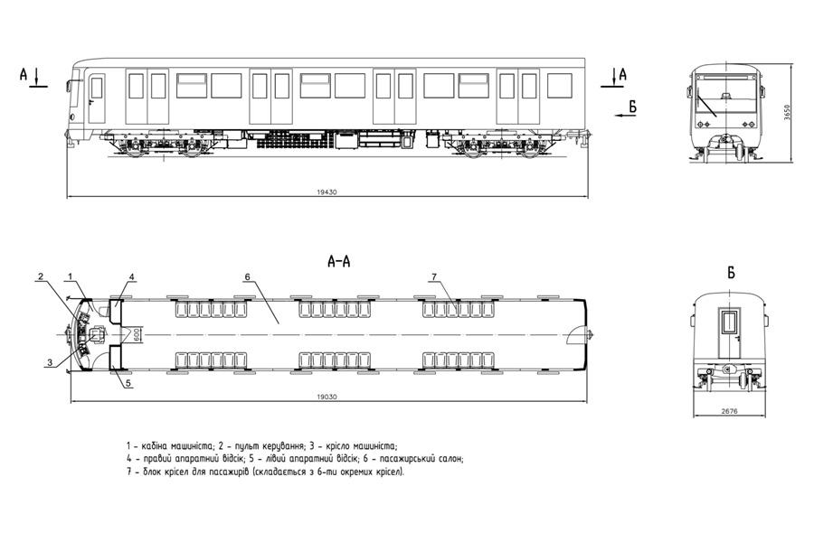 Планировочное решение головного вагона мод. 81-7021