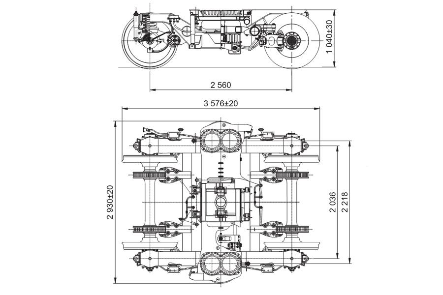 Двухосная тележка модель 68-7041 с пневмоподвешиванием