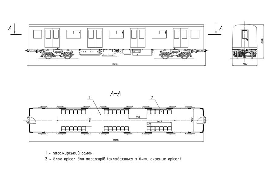 Планувальне рішення проміжного вагона мод. 81-7037