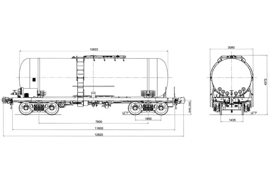 Вагон-цистерна предназначена для перевозки вязких нефтепродуктов с внутренним разогревом, модель 15-776Э