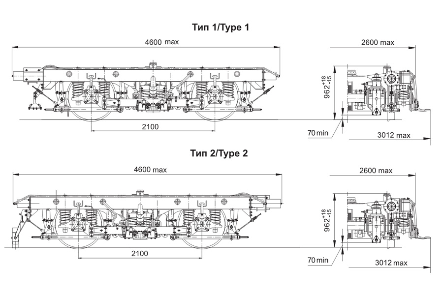 Візок вагону метро мод. 68-797 (тип 1 та тип 2, тип 5 та тип 6)