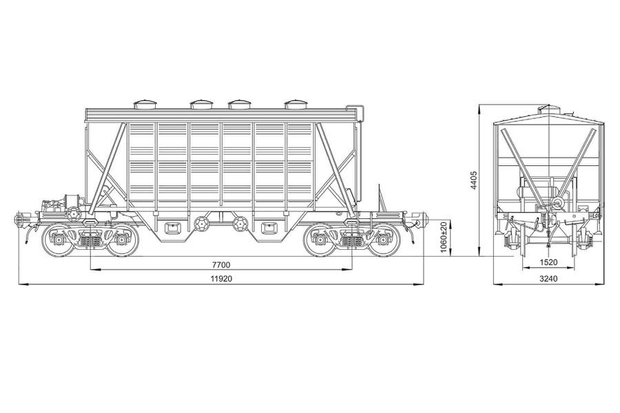 Вагон-хоппер для перевозки цемента мод. 19-758