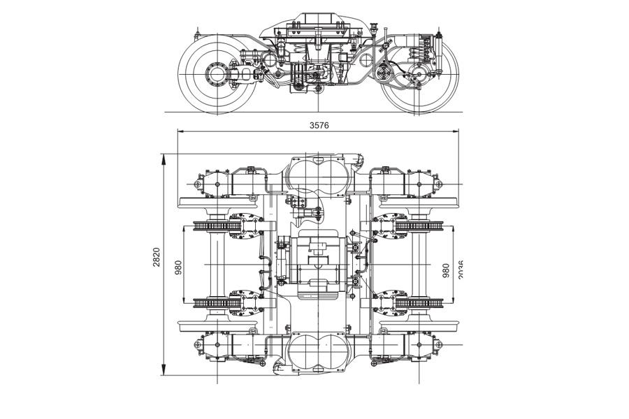 Двовісний візок моделі 68-7007 (68-7012 з приводом ручного гальма)