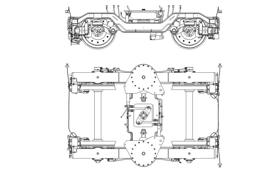 Двухосная тележка модель 68-7090 с пневмоподвешиванием