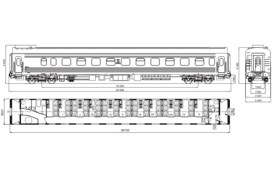 Вагон пассажирский купейный с местами для сидения и купе бригадира мод. 61-779В