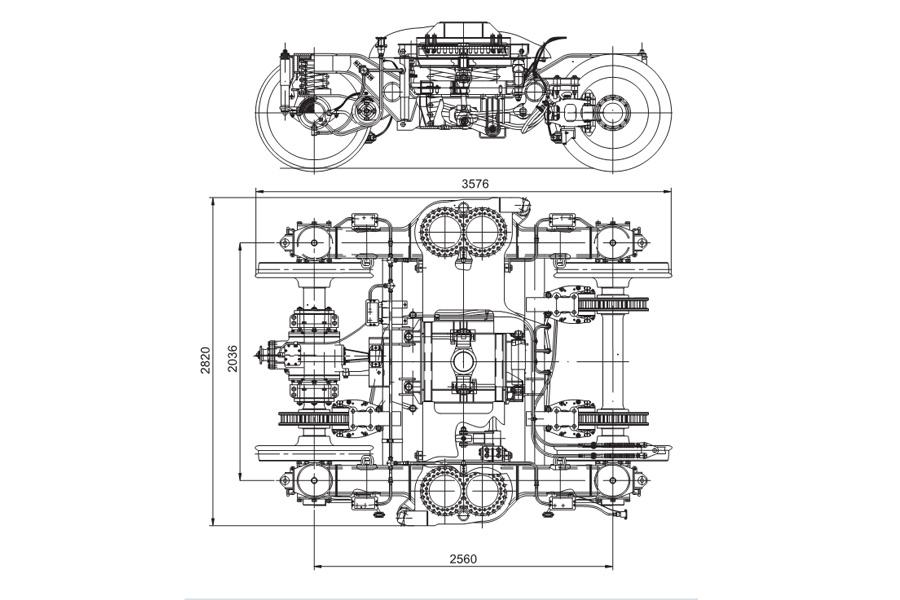 Двовісний візок моделі 68-7013 з приводом генератора