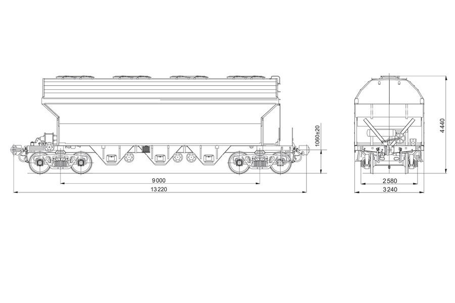 Вагон-хоппер для перевозки зерна мод. 19-765Э