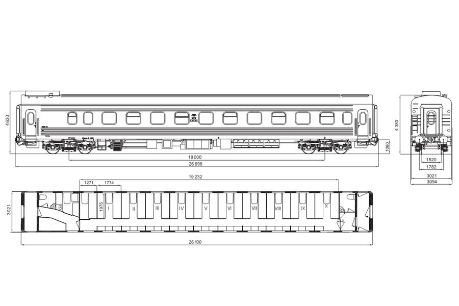 Вагон пасажирський плацкартний мод. 61-779П
