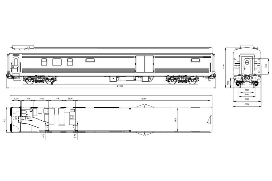 Вагон пассажирский багажный мод. 61-7093