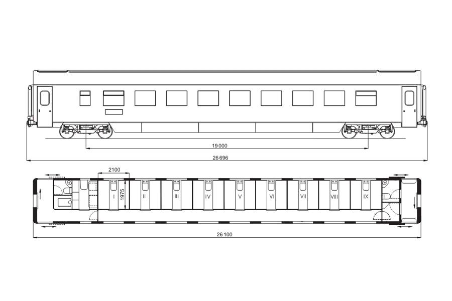 Вагон пассажирский купейный «СВ» модель 61-788Б