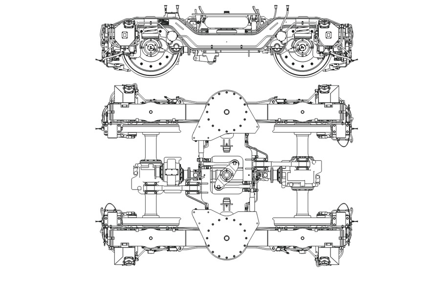 Двухосная тележка модель 68-7085 с пневмоподвешиванием